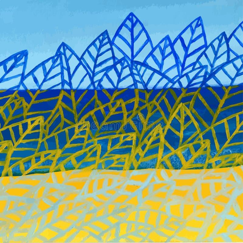 Fondo abstracto de acrílico del vector de la naturaleza del verano Modelo de las hojas ilustración del vector