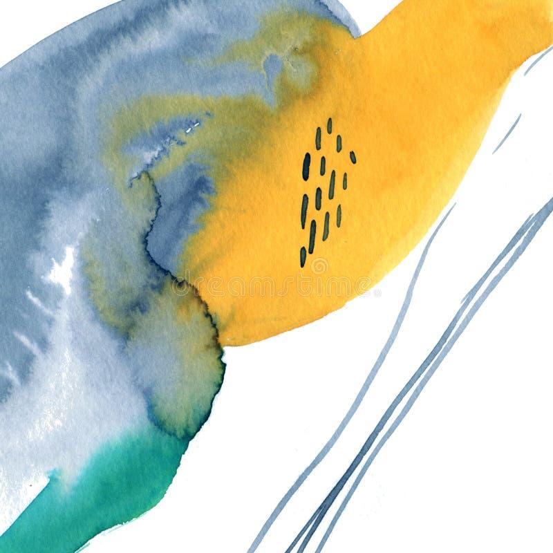 Fondo abstracto de acuarela moderno con flujo libre de pintura de tinta Mezcla de colores gris, amarillo, turquesa y naranja fotos de archivo libres de regalías
