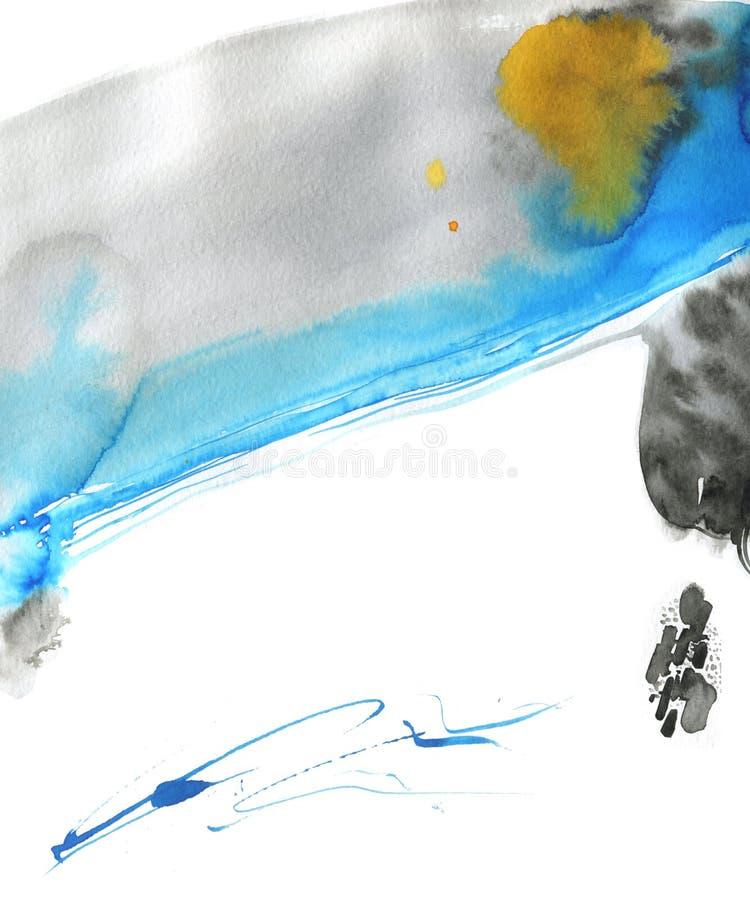 Fondo abstracto de acuarela moderno con flujo libre de pintura de tinta Mezcla de colores gris, negro, azul y naranja Fresco imágenes de archivo libres de regalías