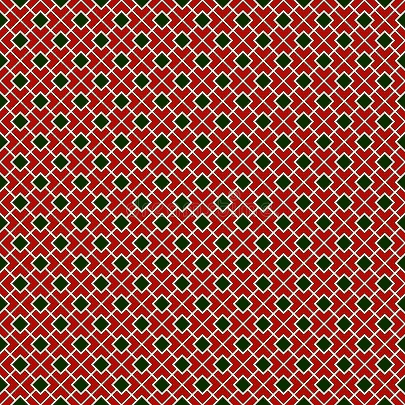 Fondo abstracto de cadena cuadrado diagonal de los colores tradicionales de la Navidad Papel pintado del mosaico modelo inconsúti stock de ilustración