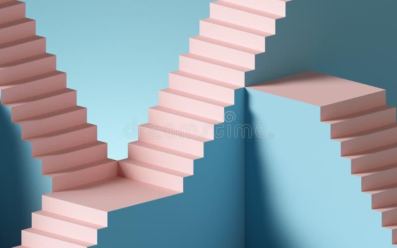 Fondo abstracto de 3d, escalones y escaleras, en tonos rosa y azul pastel Elementos de diseño arquitectónico stock de ilustración
