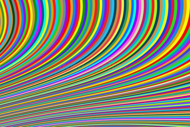 Fondo abstracto de líneas estrechas brillantes en una curva multicolora ilustración del vector