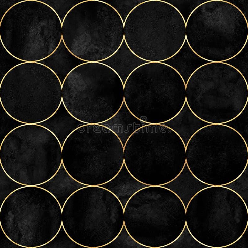 Fondo abstracto de la acuarela con los círculos de color vibrantes negros stock de ilustración