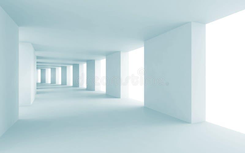 Fondo abstracto de la arquitectura 3d, pasillo azul libre illustration