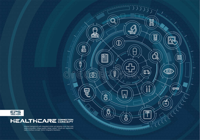 Fondo abstracto de la atención sanitaria y de la medicina Digitaces conectan el sistema con los círculos integrados, línea fina q libre illustration