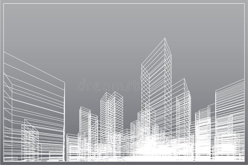 Fondo abstracto de la ciudad del wireframe La perspectiva 3D rinde de wireframe del edificio Vector ilustración del vector