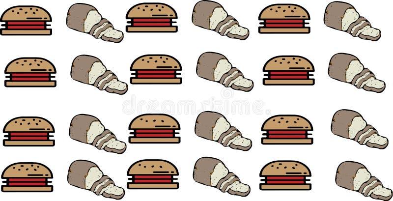 Fondo abstracto de la comida con la hamburguesa y la carne stock de ilustración