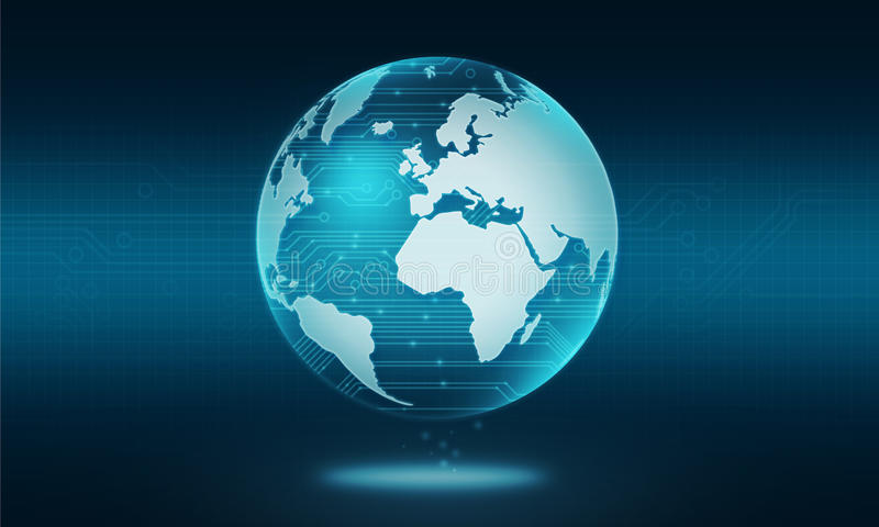 Fondo abstracto de la conexión de la tecnología de circuito del mundo stock de ilustración