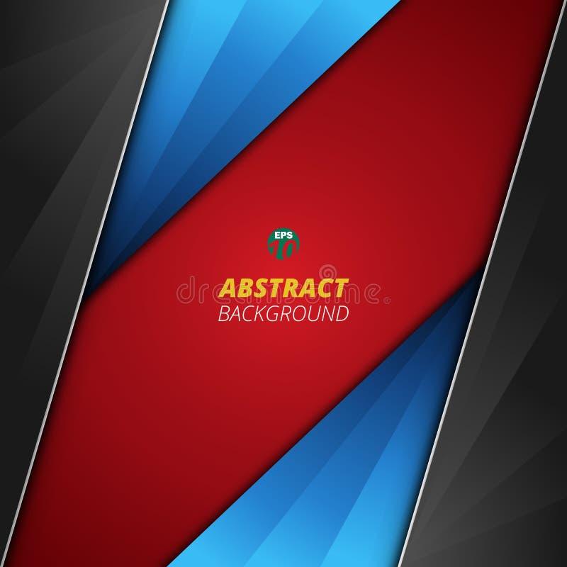 Fondo abstracto de la cubierta suave lisa azul negra roja de lujo del color de la pendiente stock de ilustración