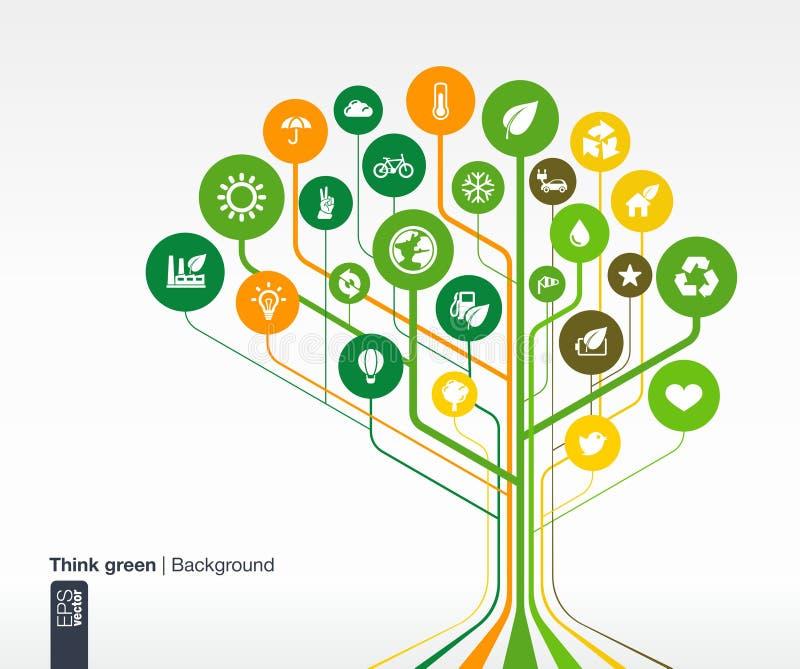 Fondo abstracto de la ecología con las líneas y los círculos Brain Concept libre illustration