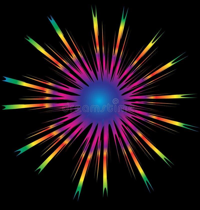 Fondo abstracto de la estrella de la explosión del sol del arco iris stock de ilustración