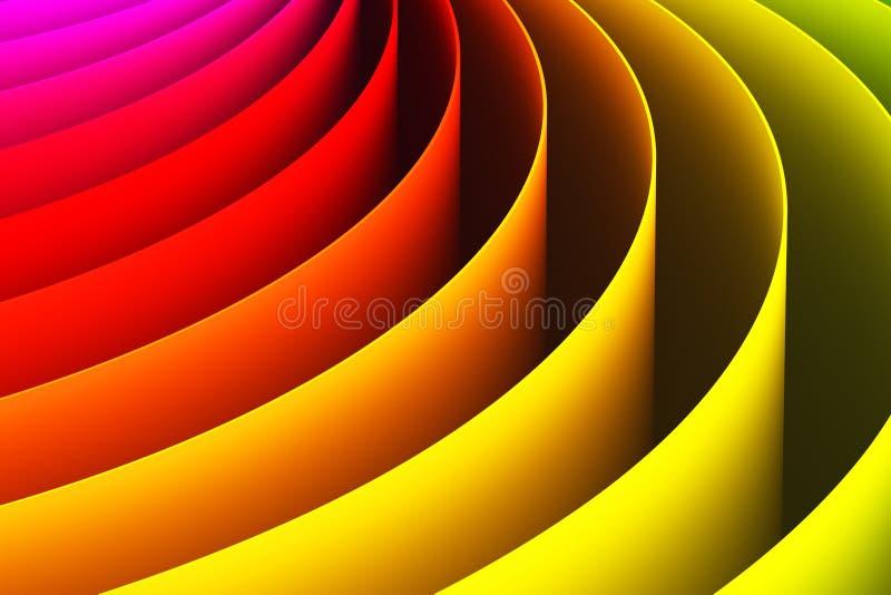 Fondo abstracto de la forma de la curva del color 3D ilustración del vector