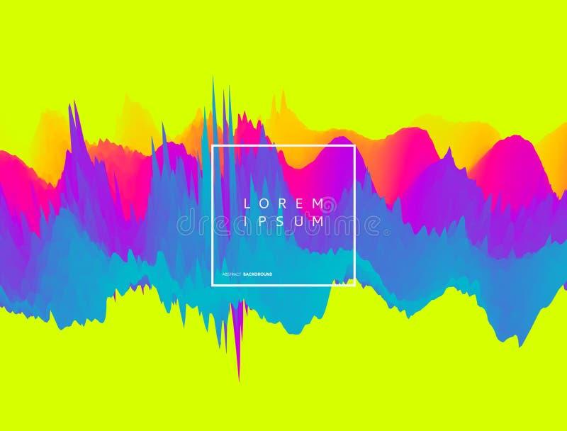 Fondo abstracto de la forma de onda estilo de la tecnología 3D Ejemplo del vector con las ondas acústicas libre illustration