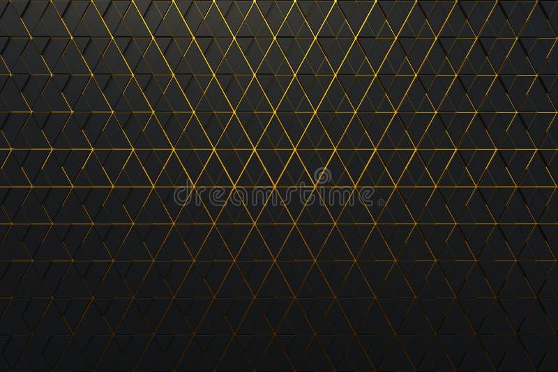 Fondo abstracto de la forma poligonal con las líneas de oro stock de ilustración