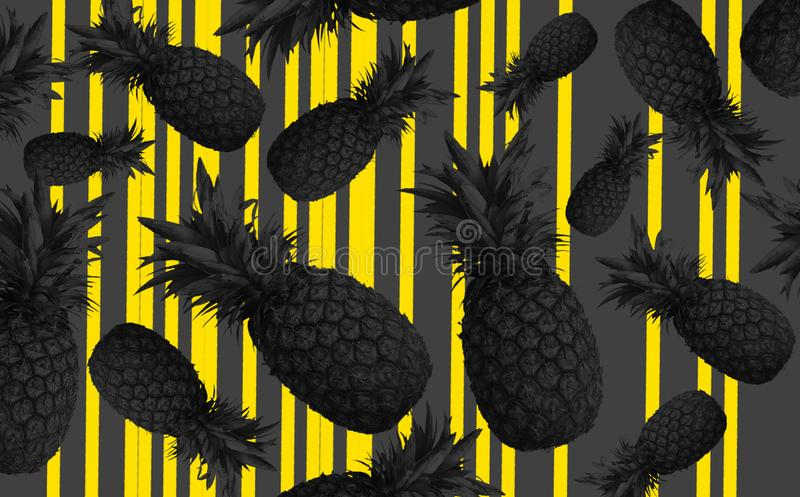 Fondo abstracto de la fruta con las piñas coloridas Concepto brillante de la fruta ilustración del vector