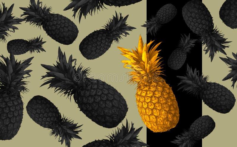 Fondo abstracto de la fruta con las piñas coloridas Concepto brillante de la fruta libre illustration