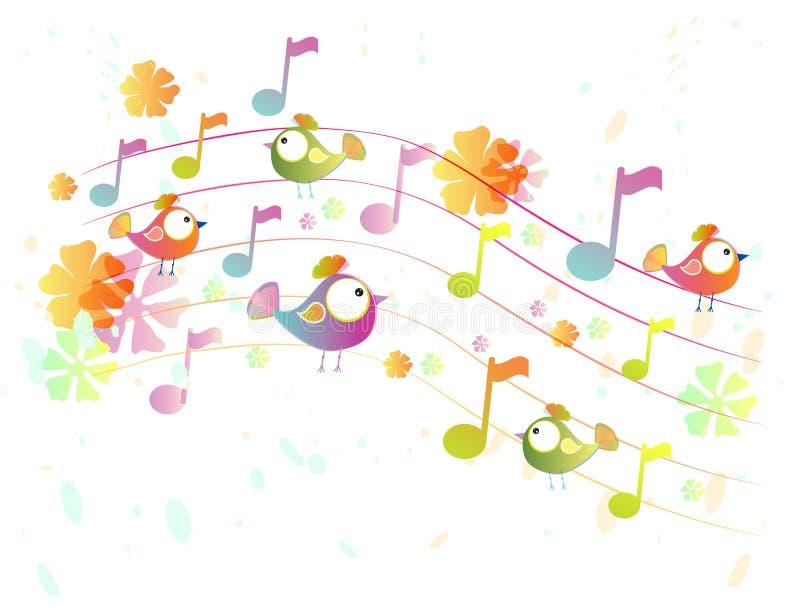 Fondo abstracto de la música con los pájaros libre illustration