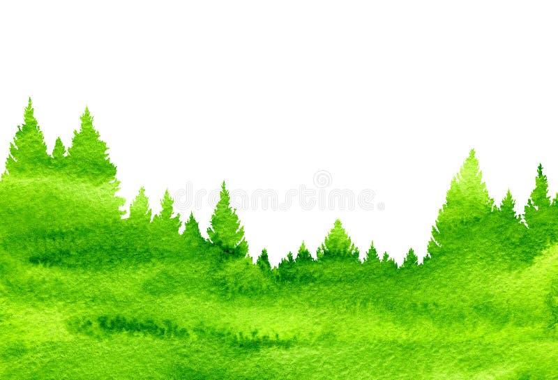 Fondo abstracto de la naturaleza del paisaje de la acuarela con los abetos stock de ilustración