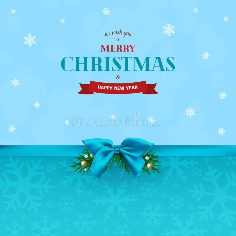 Fondo abstracto de la Navidad con la cinta azul y el arco Ramas del abeto con las bolas y los copos de nieve de la Navidad libre illustration
