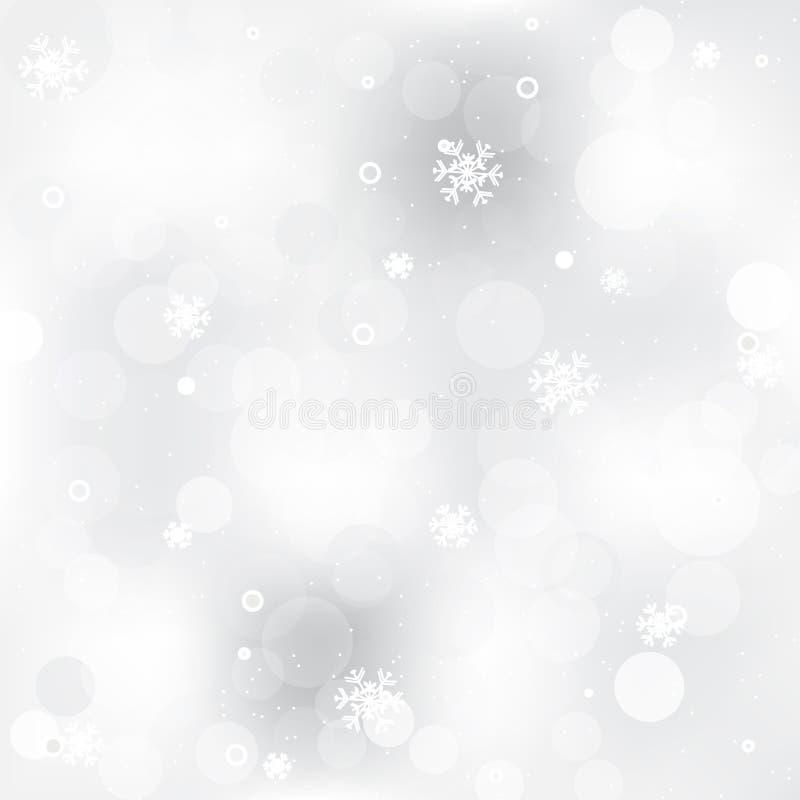 Fondo abstracto de la Navidad con efecto brillante y copos de nieve ilustración del vector