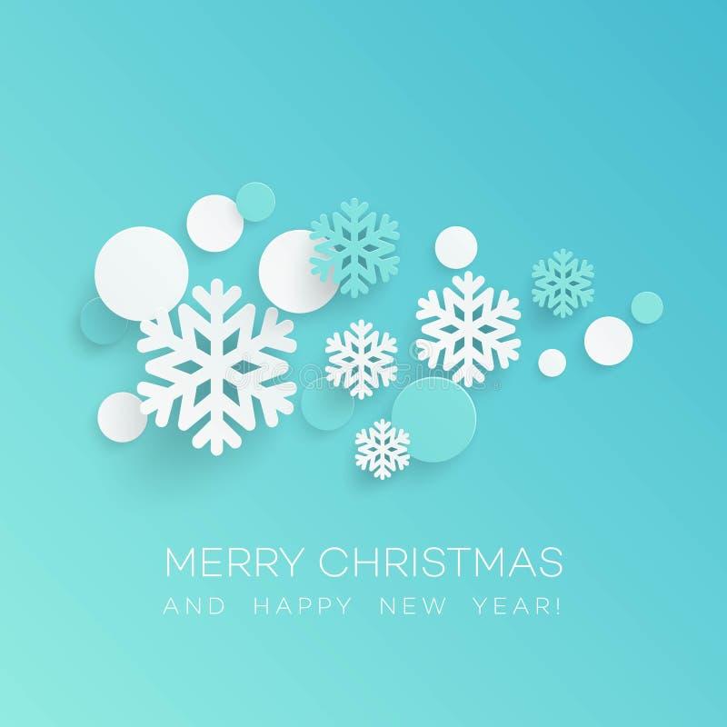 Fondo abstracto de la Navidad de los copos de nieve de Papercraft Ilustración del vector ilustración del vector