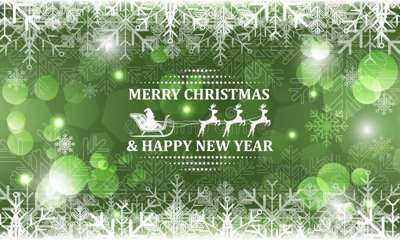 Fondo abstracto de la Navidad Papá Noel en trineo con el reno en título stock de ilustración