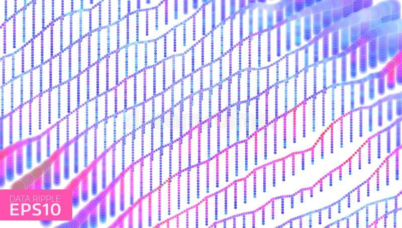 Fondo abstracto de la ondulación de los datos Los datos agitan concepto futurista de la información Análisis de la carta stock de ilustración