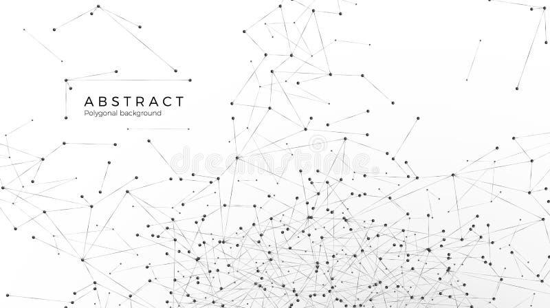 Fondo abstracto de la part?cula Nodos conectados en web Ensucie la red o Internet Modelo at?mico y molecular Ilustraci?n del vect ilustración del vector