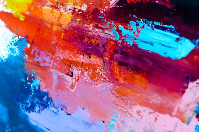 Fondo abstracto de la pintura al óleo Aceite en textura de la lona Mano dibujada imagen de archivo
