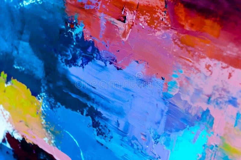 Fondo abstracto de la pintura al óleo Aceite en textura de la lona Mano dibujada fotografía de archivo libre de regalías