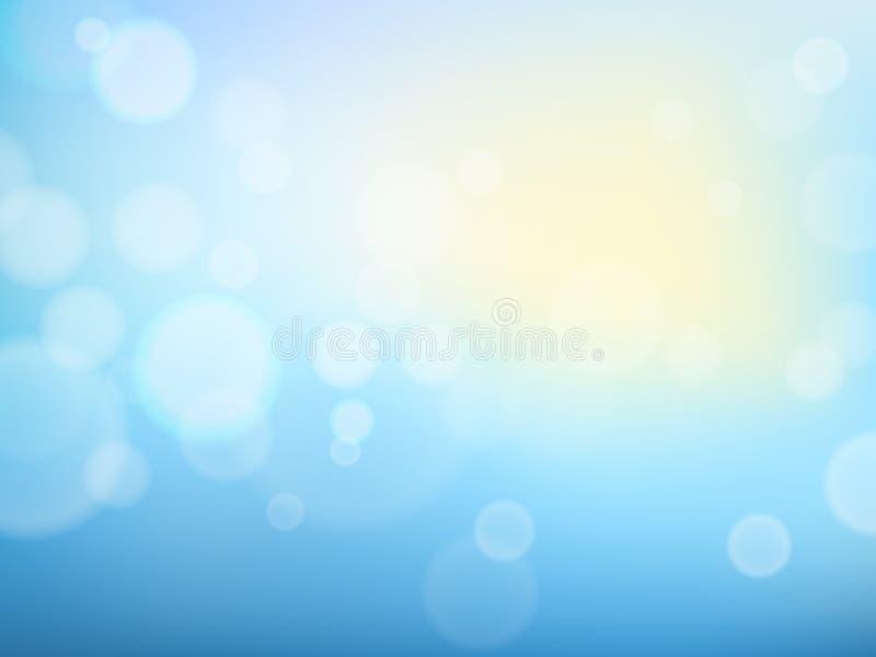 Fondo abstracto de la primavera con el cielo azul, el sol y las luces borrosas del bokeh libre illustration