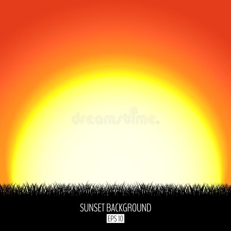Fondo abstracto de la puesta del sol o de la salida del sol con la silueta negra de la hierba Sistemas ardientes del sol sobre el stock de ilustración