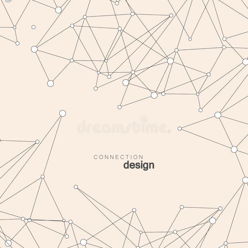Fondo abstracto de la red con los puntos y las líneas Estructura geométrica de la conexión ilustración del vector