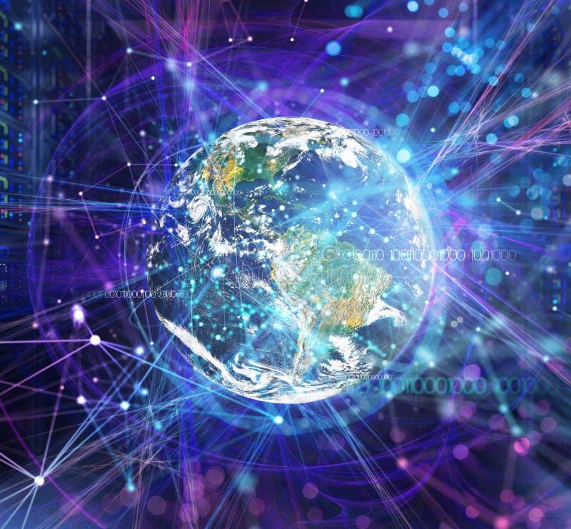 Fondo abstracto de la red de la conexi?n a internet con efectos del movimiento Tierra proporcionada por la NASA imagenes de archivo