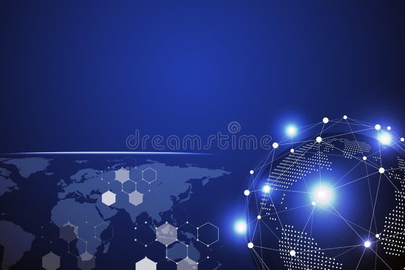 Fondo abstracto de la tecnología azul con la línea blanca punto Concepto del negocio y de la conexi?n Internet cibern?tico y tema ilustración del vector