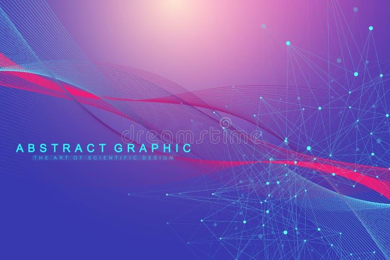 Fondo abstracto de la tecnología con la línea y los puntos conectados Visualización grande de los datos Visualización del context libre illustration