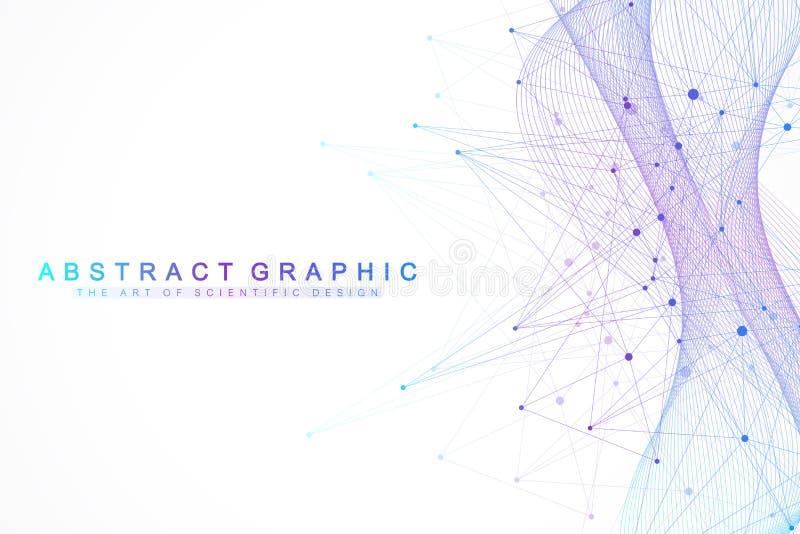 Fondo abstracto de la tecnología con la línea y los puntos conectados Visualización grande de los datos Inteligencia artificial y libre illustration