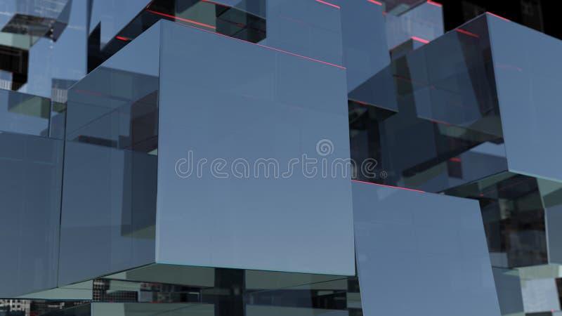 Fondo abstracto de la tecnología con los cubos de cristal stock de ilustración