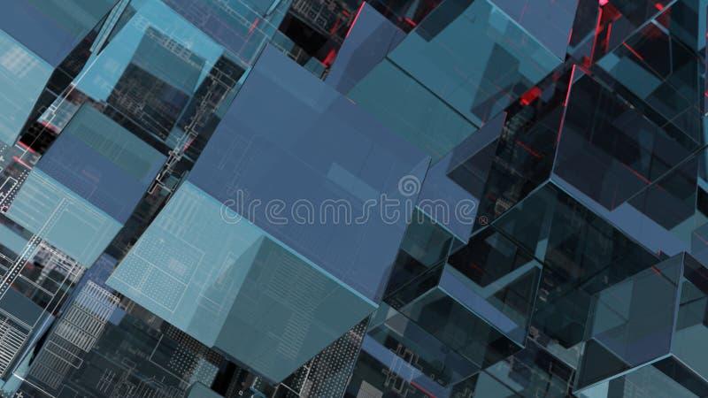 Fondo abstracto de la tecnología con los cubos de cristal libre illustration