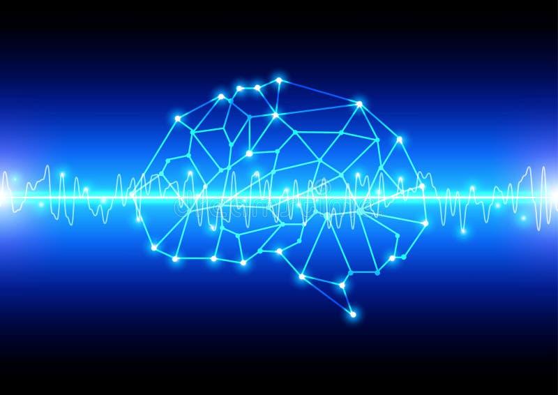 Fondo abstracto de la tecnología del concepto de la malla del cerebro Ilustración stock de ilustración