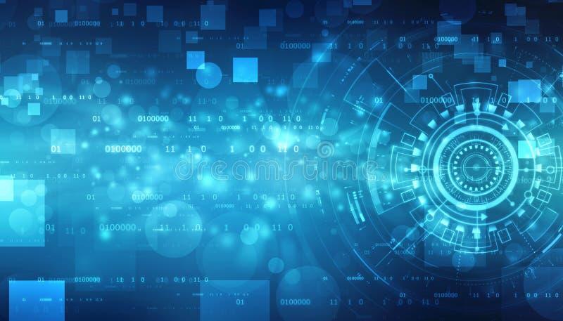 Fondo abstracto de la tecnología de Digitaces, fondo binario, fondo futurista, concepto del ciberespacio stock de ilustración