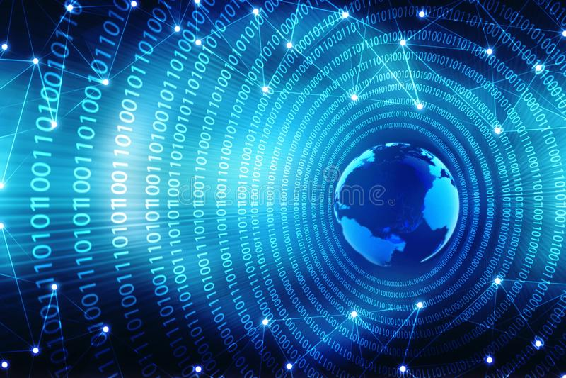 Fondo abstracto de la tecnología de Digitaces Concepto global del Internet stock de ilustración