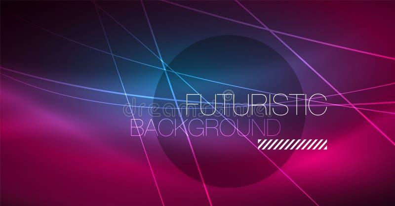 Fondo abstracto de la tecnología de Digitaces - diseño geométrico de neón Líneas que brillan intensamente abstractas Fondo colori libre illustration
