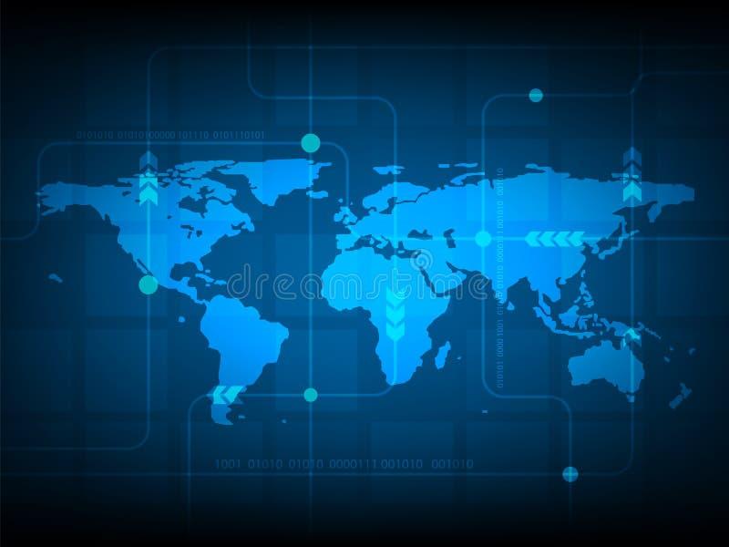 Fondo abstracto de la tecnología digital del mapa del mundo, fondo futurista del concepto de los elementos de la estructura stock de ilustración