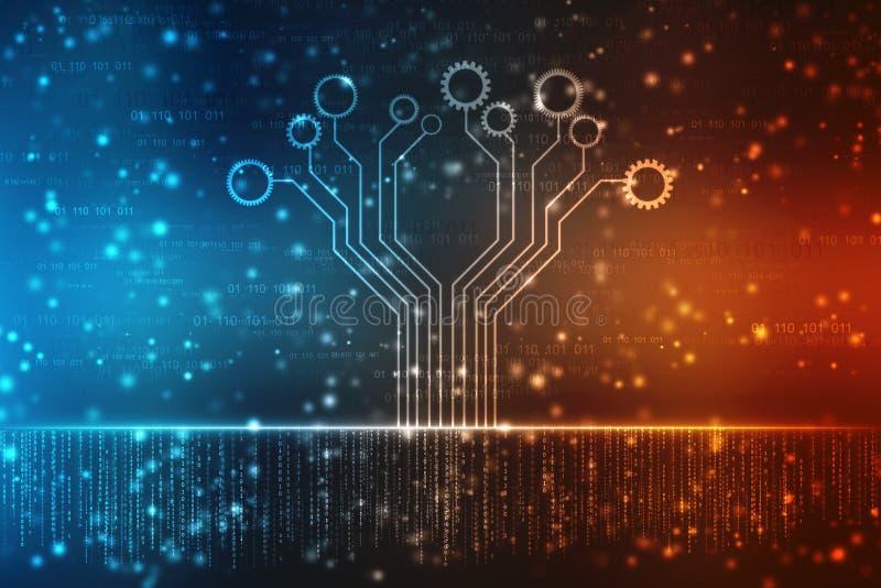 Fondo abstracto de la tecnología, fondo futurista, concepto del ciberespacio stock de ilustración