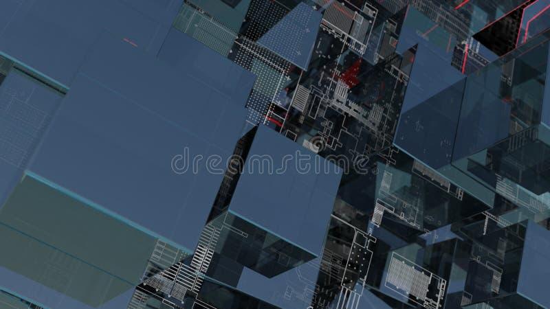 Fondo abstracto de la tecnolog?a con los cubos de cristal stock de ilustración