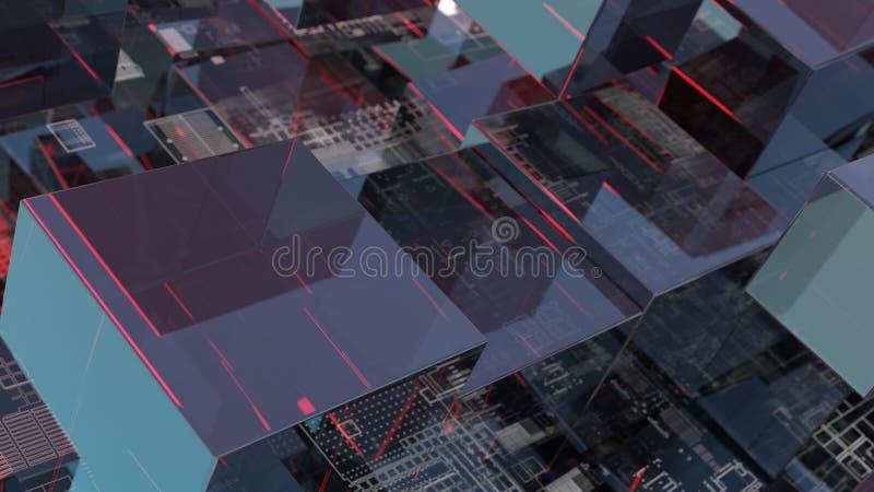 Fondo abstracto de la tecnolog?a con los cubos de cristal ilustración del vector