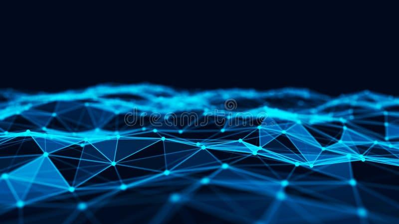 Fondo abstracto de la tecnolog?a Estructura de la conexi?n de red Fondo digital de los datos grandes representaci?n 3d imagenes de archivo