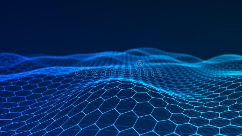 Fondo abstracto de la tecnolog?a Visualizaci?n grande de los datos Fondo futurista del hex?gono representaci?n 3d ilustración del vector