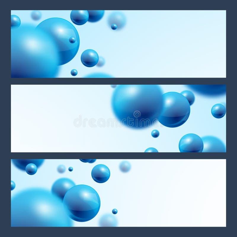 Fondo abstracto de las banderas azules de las bolas ilustración del vector
